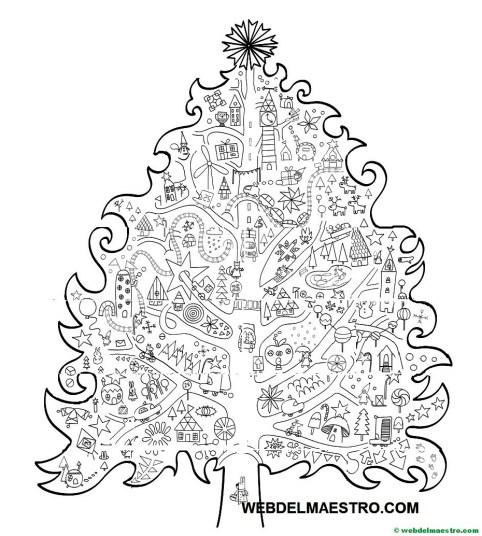 arbol gigante de Navidad para colorear
