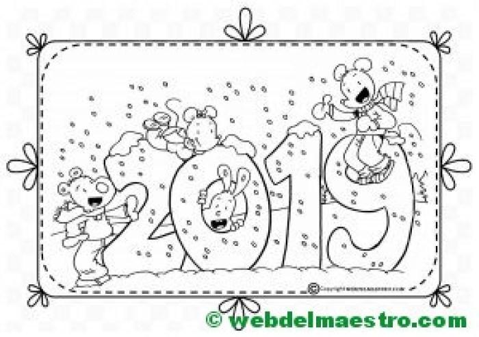 Dibujo de 2019 para colorear para niños