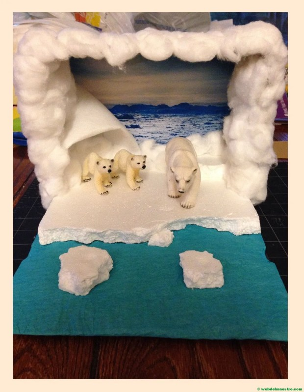 Diorama - animales de la zona polar--