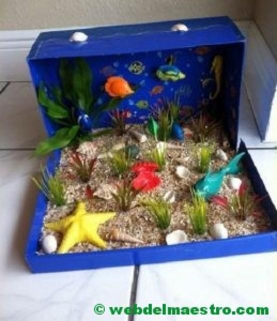 Diorama - fonde marino - animales del mar