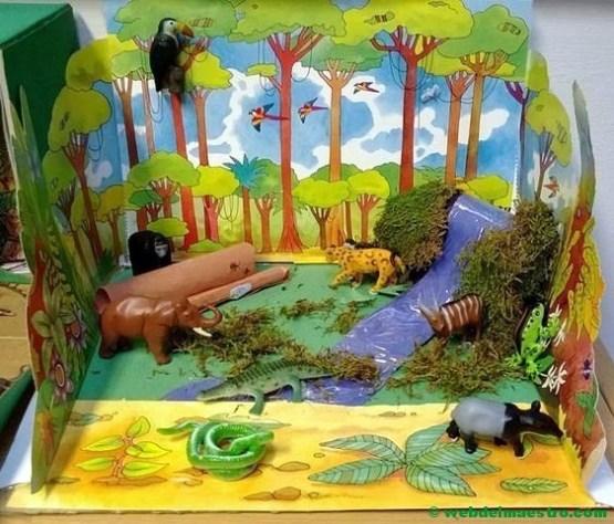 Diorama sobre animales salvajes - selva tropical