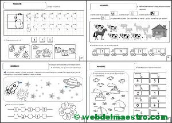 Fichas infantil cinco años para imprimir-