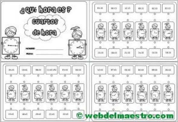 Aprender las horas analogico y digital-cuartos de hora