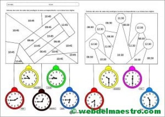 Fichas para aprender las horas