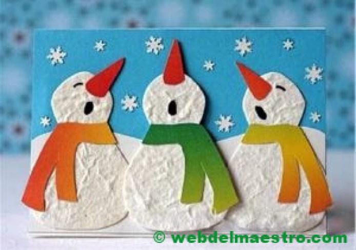 muñecos de nieve con discos de algodón