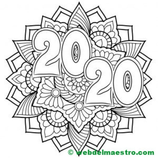 11. mandala año 2020 para colorear