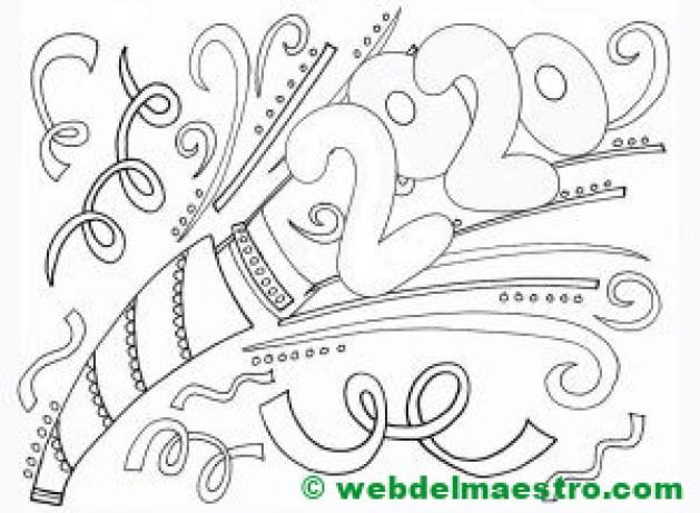 6. Dibujo de 2020 para pintar para niños