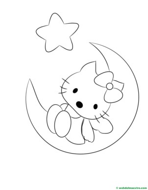 Dibujo de Hello Kitty en la Luna