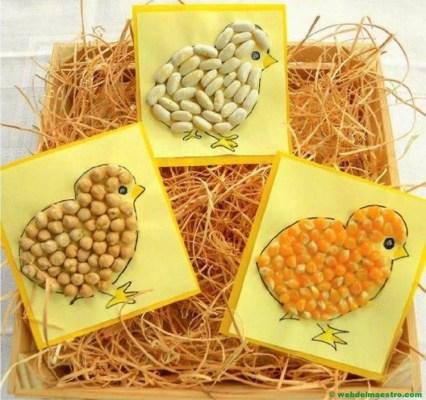Pollitos realizados con distintos tipos de legumbres