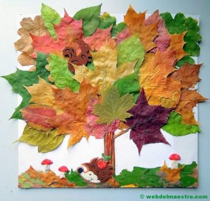 manualidades con hojas de árbol