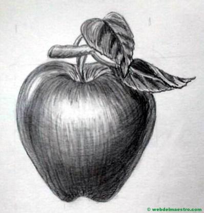 dibujo de manzana a lápiz