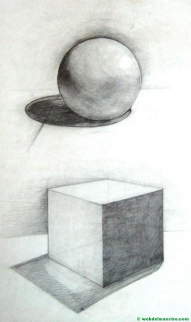 esfera y cubo con sombra