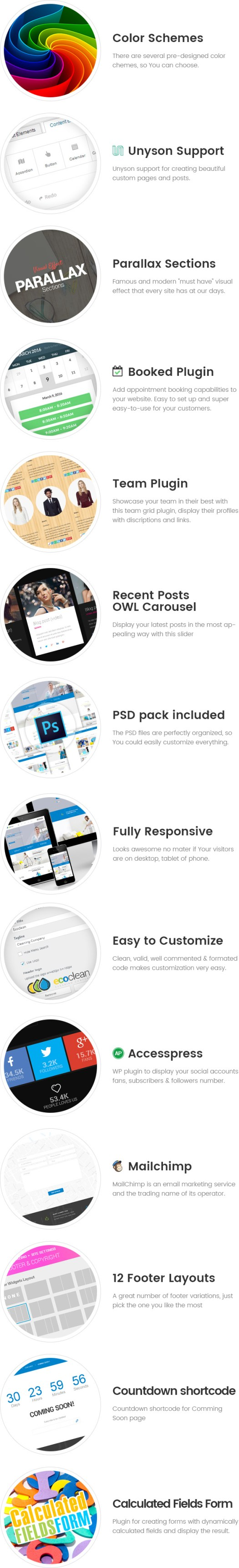 EcoClean - Cleaning company WordPress Theme features