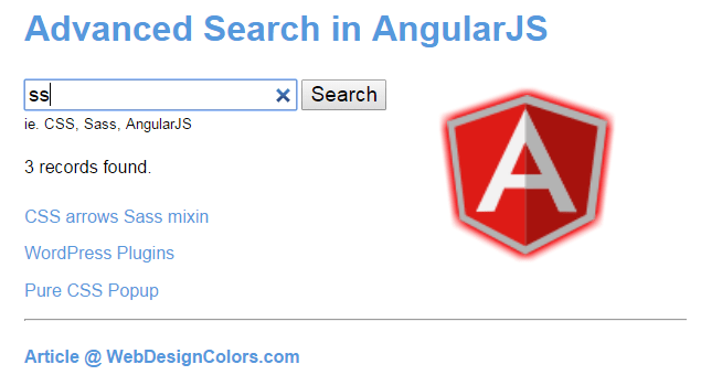 WebDesignColors - AngularJS Advanced Search - Part 1