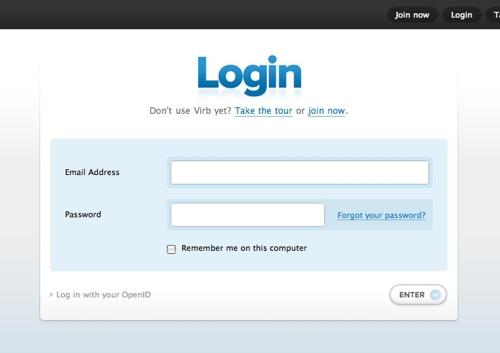 Virb's login page