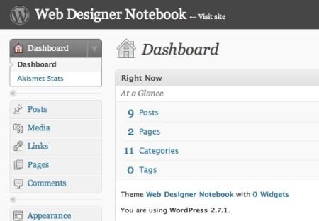 Wordpress's admin panel - Dashboard