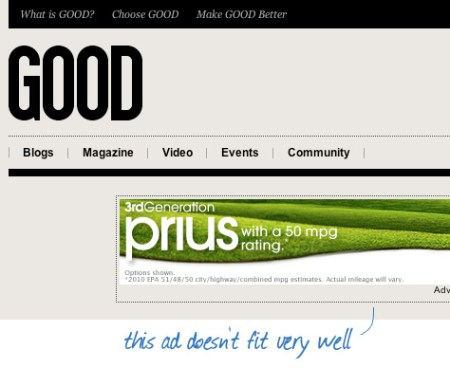 GOOD.is - Ads not fitting very well