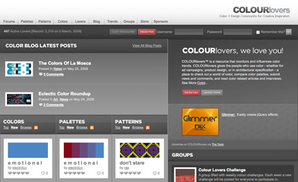 colourlovers provides more than just a way to find color palettes it is also a place to network with other people to discuss color related topics