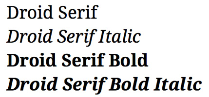 Droid Font Family