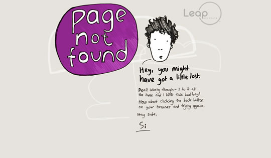 Leap Anywhere 404 page