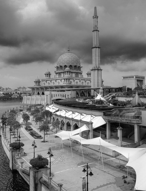 black and white Putrajaya Mosque