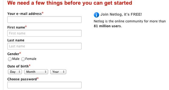 Signup for Netlog