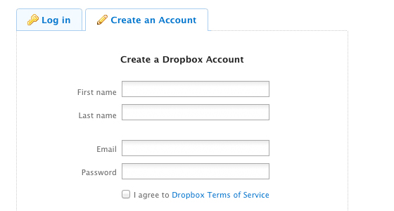 Signup for Dropbox