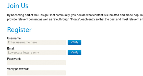 Signup for DesignFloat