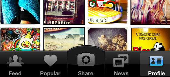 Instagram iOS app tab bar