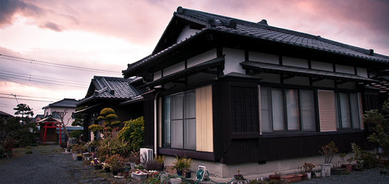 Evening sunset over Japanese Houses