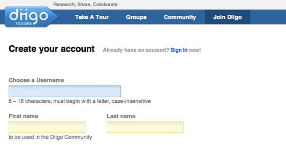 Diigo signup registration form