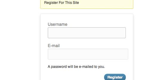 Default WordPress signup registration form