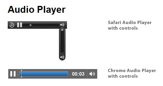 Safari and Chrome native audio player with controls