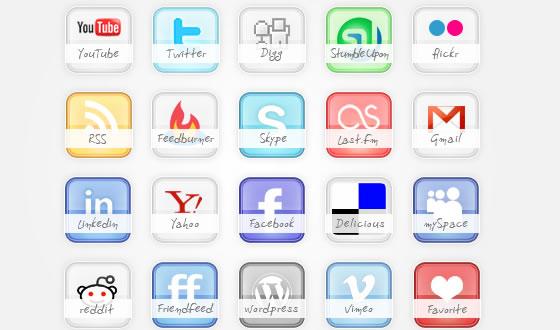 Icon Set Freebie glossy social icons