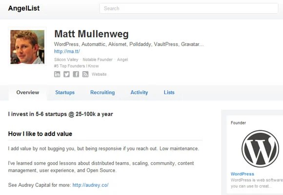 Matt Mullenweg profile angel list