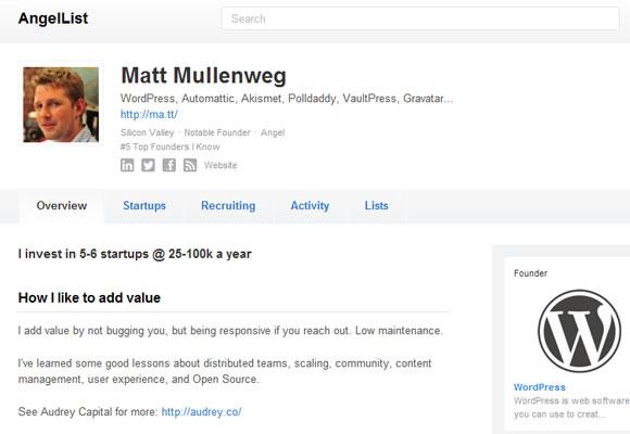 Matt Mullenweg profile angel list