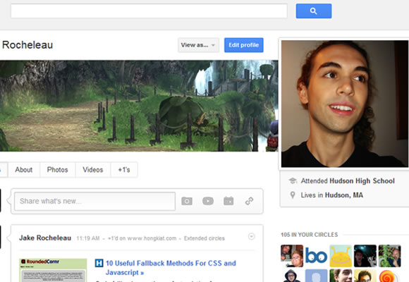 Google Plus user profiles