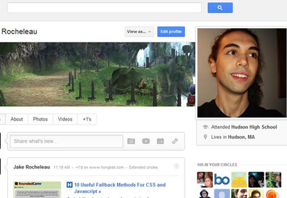 Google Plus user profiles