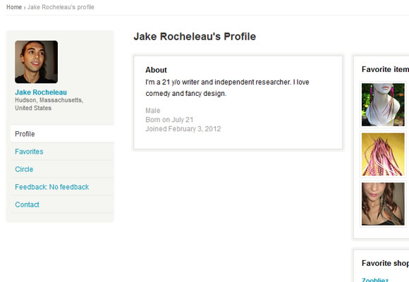 Etsy user profile design showcase