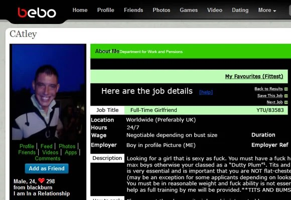 Bebo social networking user profile