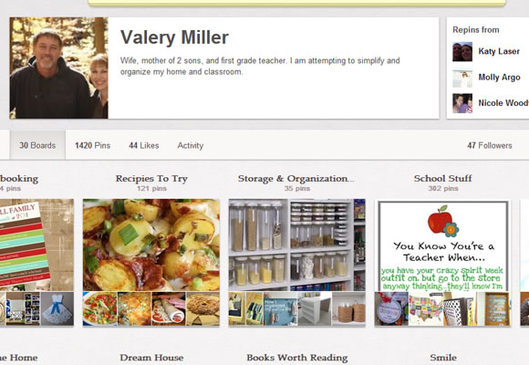 Pinterest user profile boards