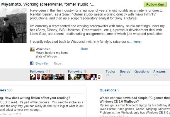Q&A social community profiles Quora