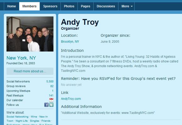Meetup user profile design
