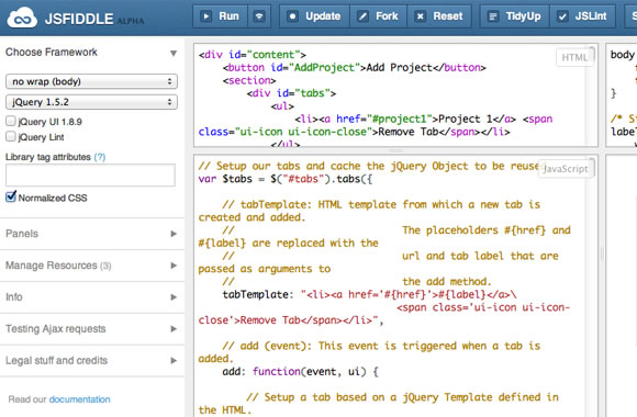 jsFiddle webapp coding design prototypes