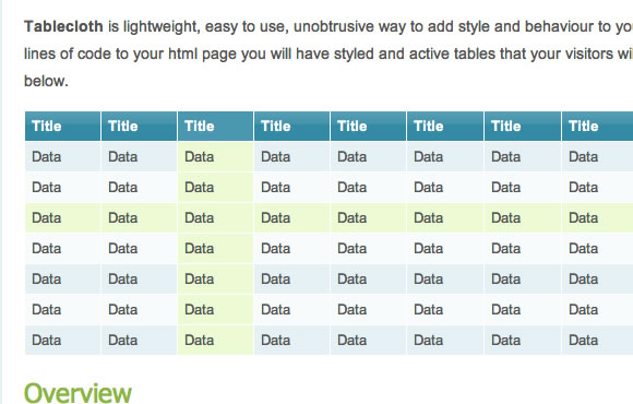 Tablecloth JavaScript library tables HTML data