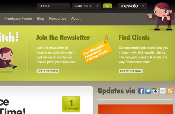 FreelanceSwitch website vector character designs branding
