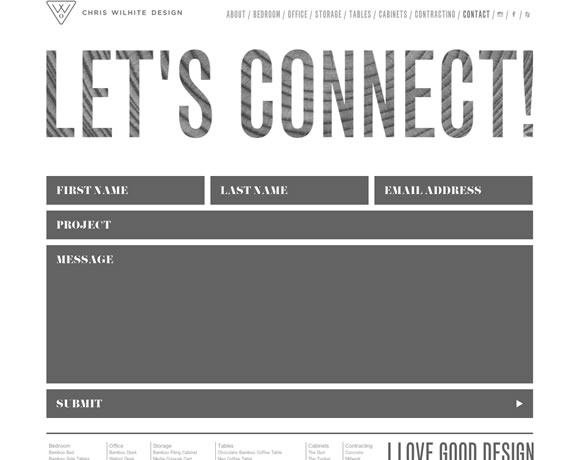17 inspiring examples of contact pages and forms web for Chris wilhite design