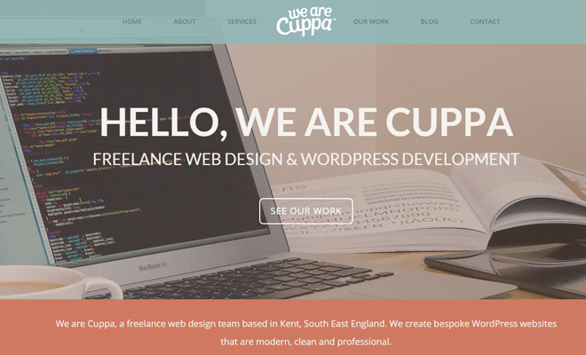 cuppa freelance web design homepage
