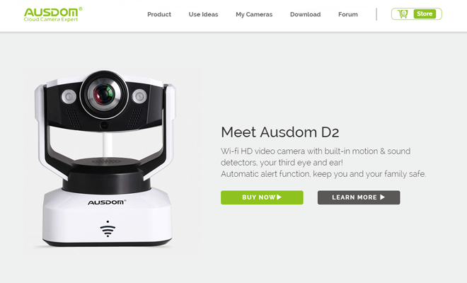 ausdom camera website homepage layout