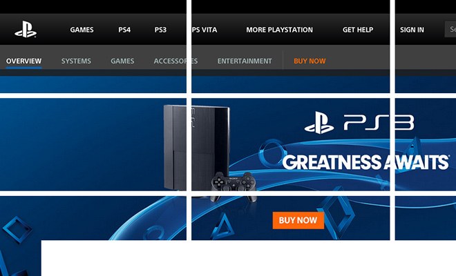 sony playstation website rule of thirds grid design